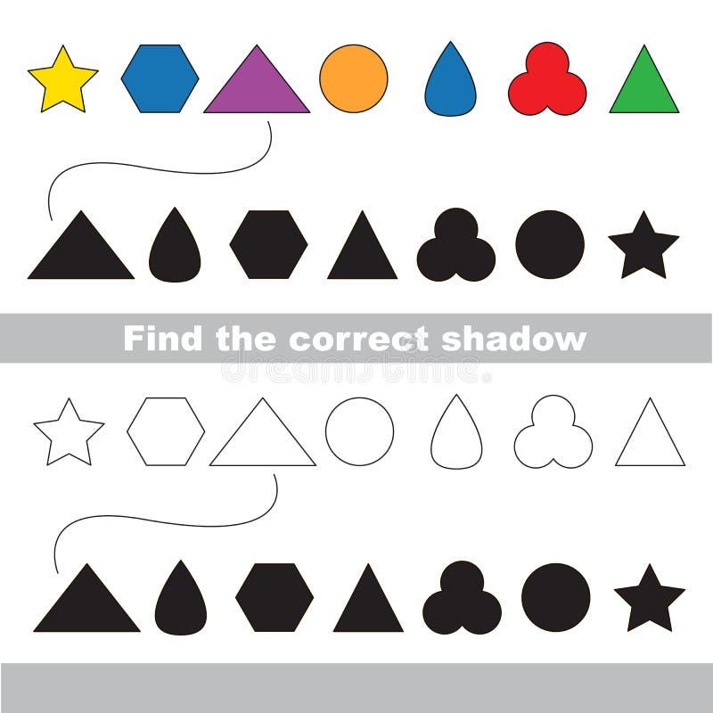 被设置的简单的几何形状 发现正确阴影 向量例证
