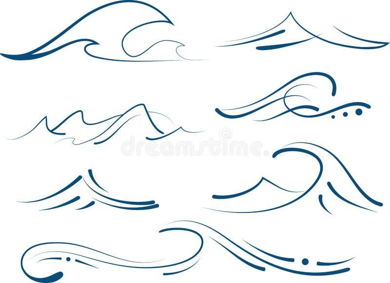 被设置的简单的波浪 库存例证