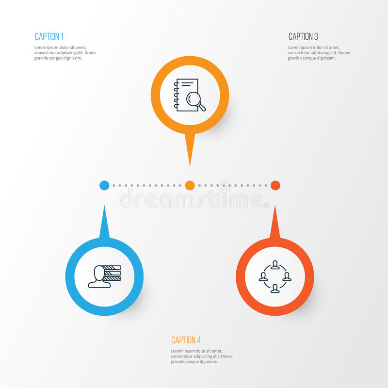 被设置的管理象 合作、个人技能、分析和其他元素的汇集 库存例证