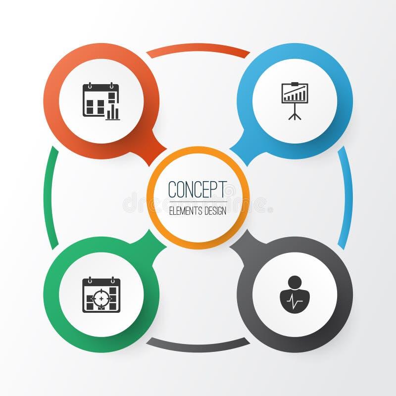 被设置的管理象 介绍日期、项目目标、个人字符和其他元素的汇集 修改 向量例证