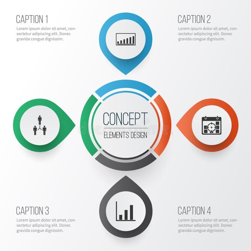 被设置的管理象 Collection Of Group Organization, Project Targets, Company统计和其他元素 修改 向量例证
