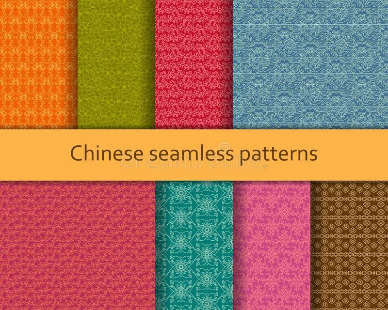 被设置的繁体中文无缝的样式 详细的装饰主题 也corel凹道例证向量 库存例证