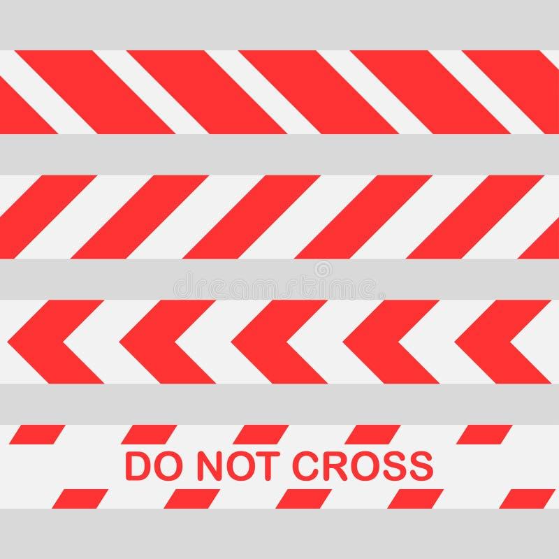 被设置的红色警告磁带不跨过线小心磁带 无缝的警察警告磁带集合 库存例证