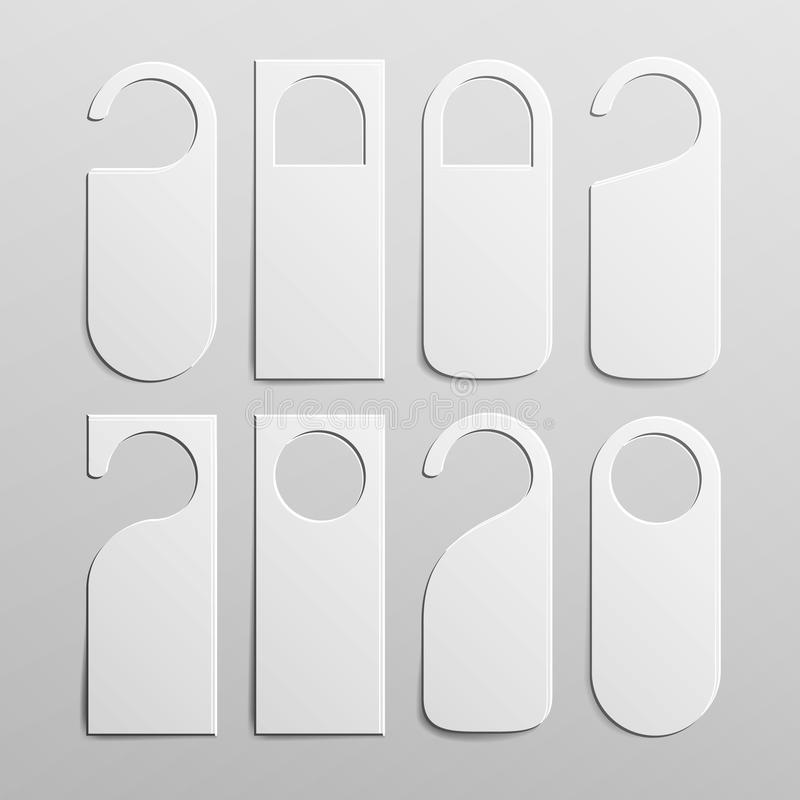 被设置的纸塑料门把手锁挂衣架 现实白色空白 倒空假装  干扰不 也corel凹道例证向量 皇族释放例证
