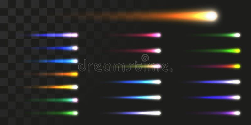 被设置的线性能量射束 彗星的传染媒介例证象轻的足迹的 向量例证