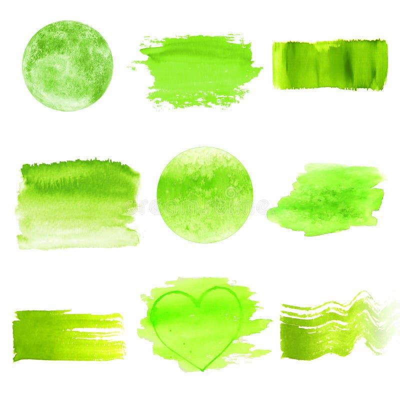 被设置的绿色水彩商标设计模板斑点 免版税库存照片