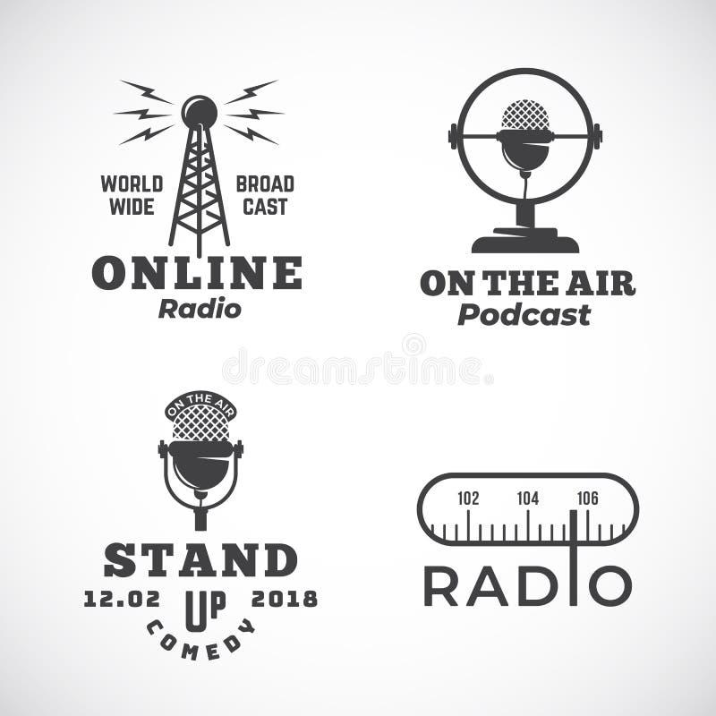 被设置的网上收音机和话筒抽象传染媒介象征 广播塔,播客或站立喜剧话筒标志或 库存例证