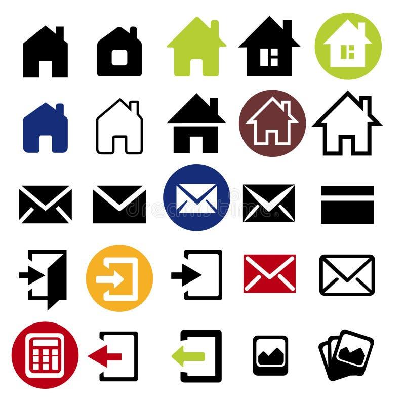 被设置的网象-房子,信件, 向量例证