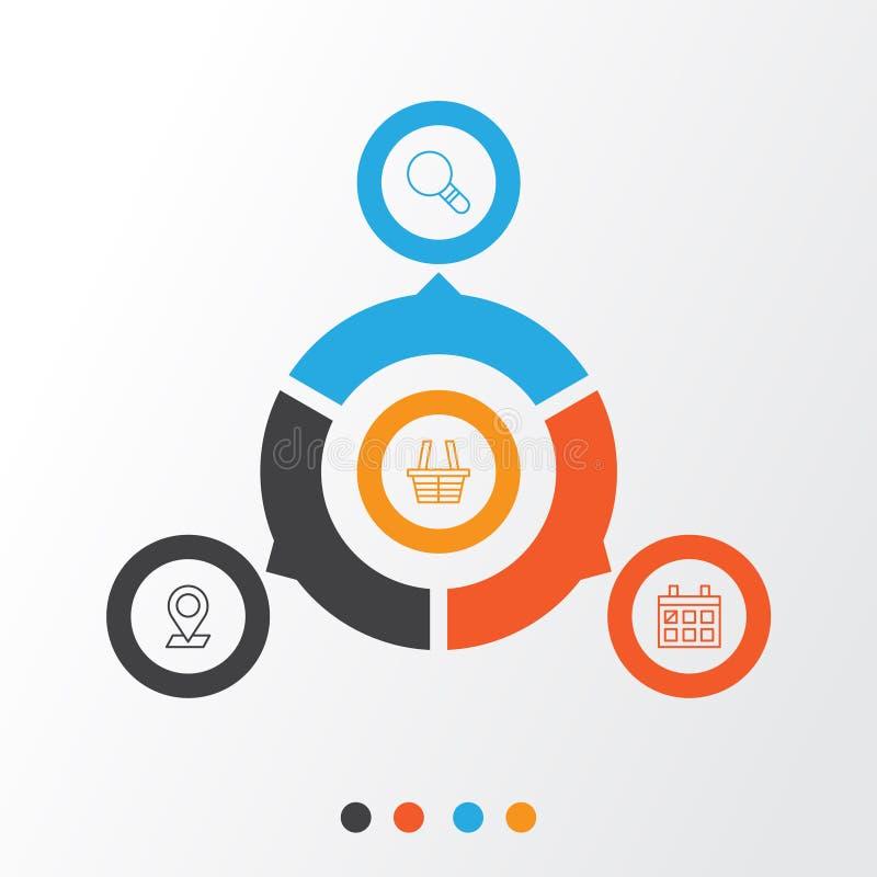 被设置的网络图标 研究、日历、针尖和其他元素的汇集 并且包括标志例如  向量例证