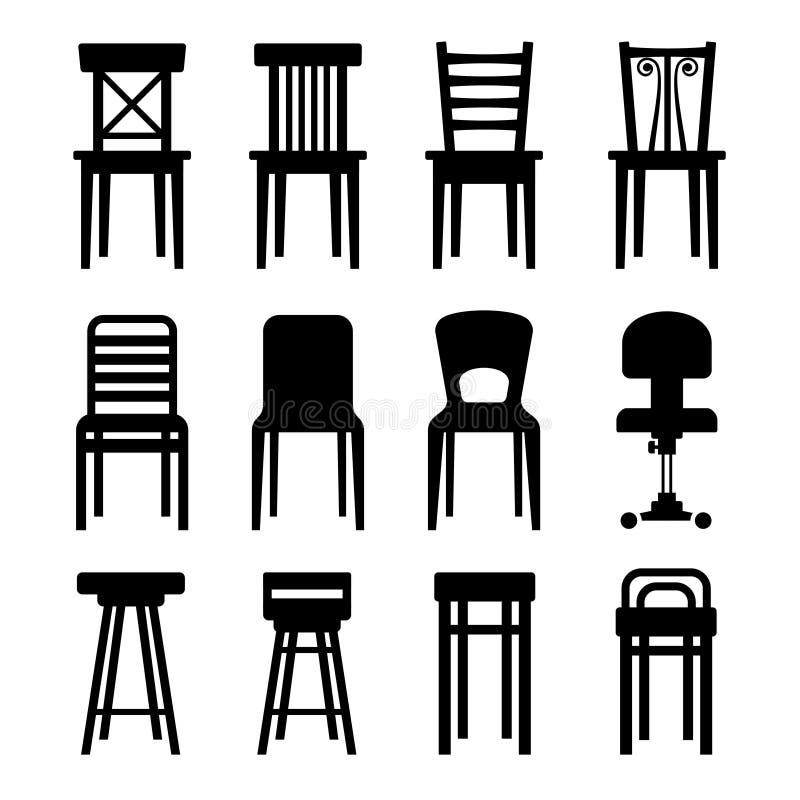 被设置的老,现代,办公室和酒吧椅子。传染媒介 向量例证