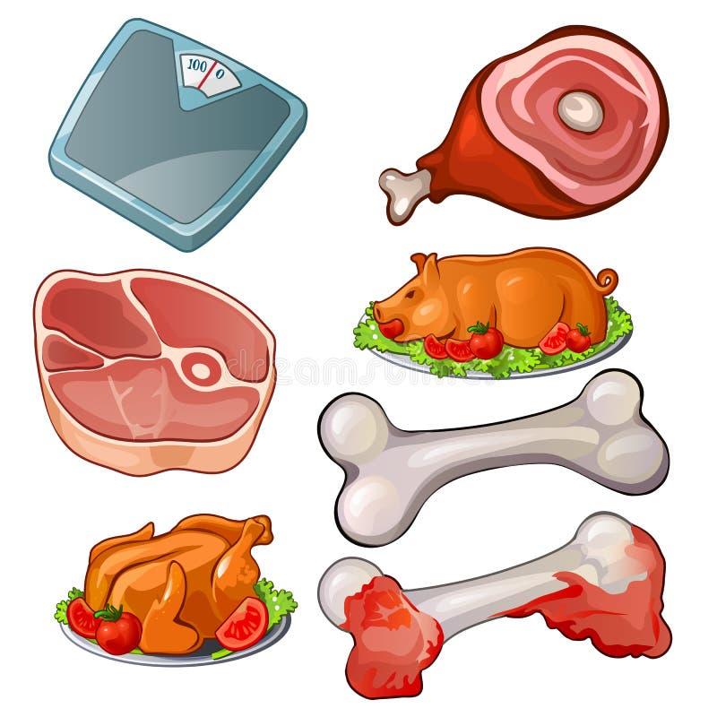 被设置的肉-生肉,标度,骨头,烹调了猪和鸡与菜 传染媒介食物汇集 烹调产品 皇族释放例证