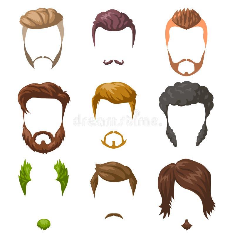 被设置的胡子、髭和发型 蝴蝶 库存例证