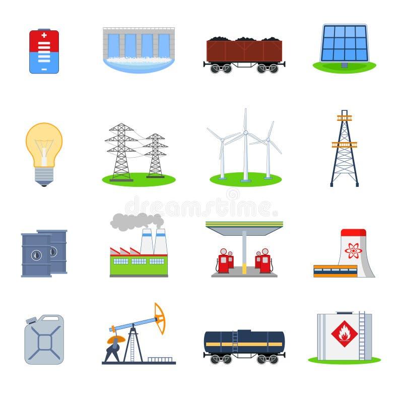 被设置的能源图标 皇族释放例证