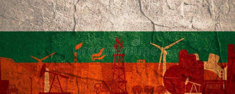被设置的能量和力量象 与保加利亚旗子的倒栽跳水横幅 皇族释放例证