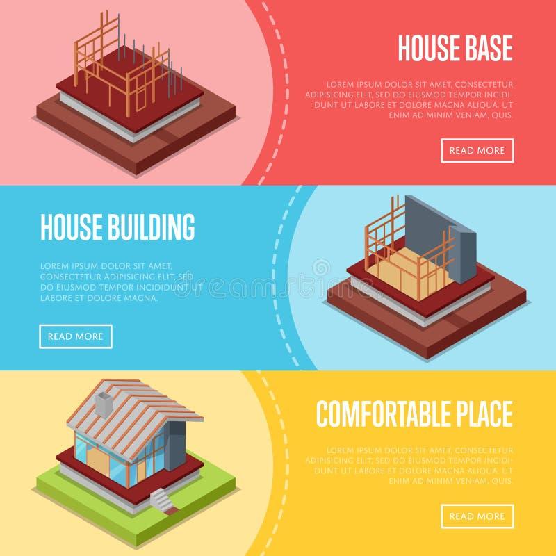 被设置的舒适的房屋建设海报 库存例证