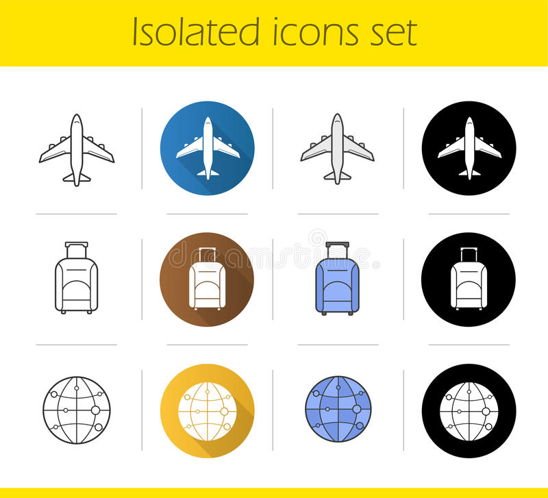 被设置的航空旅行象 向量例证