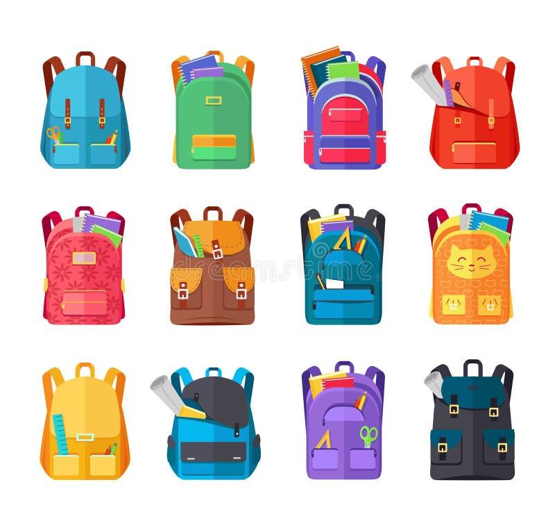 被设置的色的学校背包 库存例证