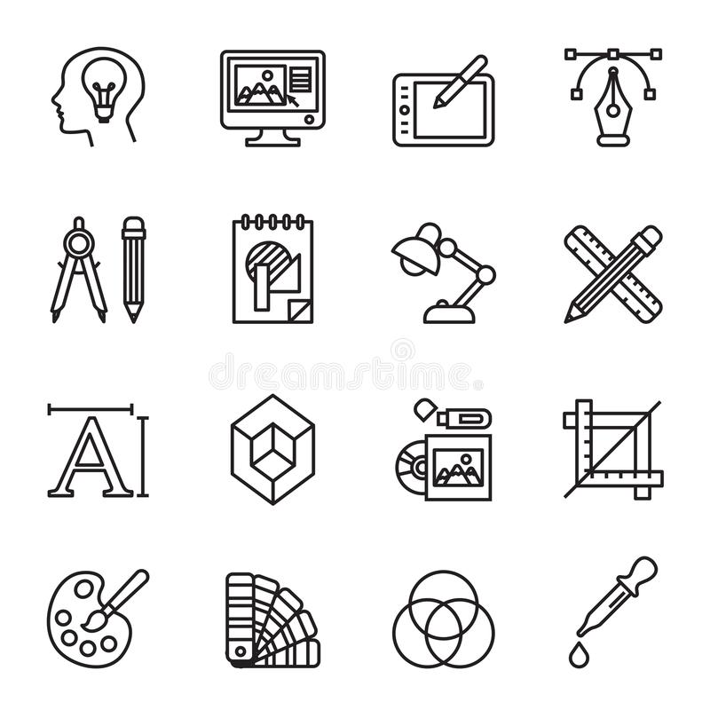 被设置的艺术、图画和网和图形设计象 向量例证