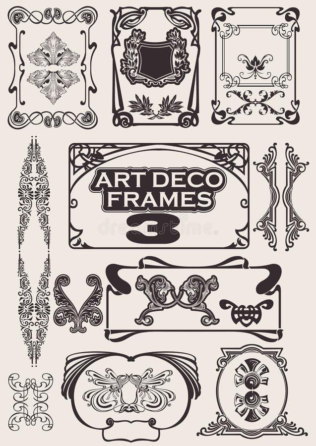 被设置的艺术装饰框架 库存例证