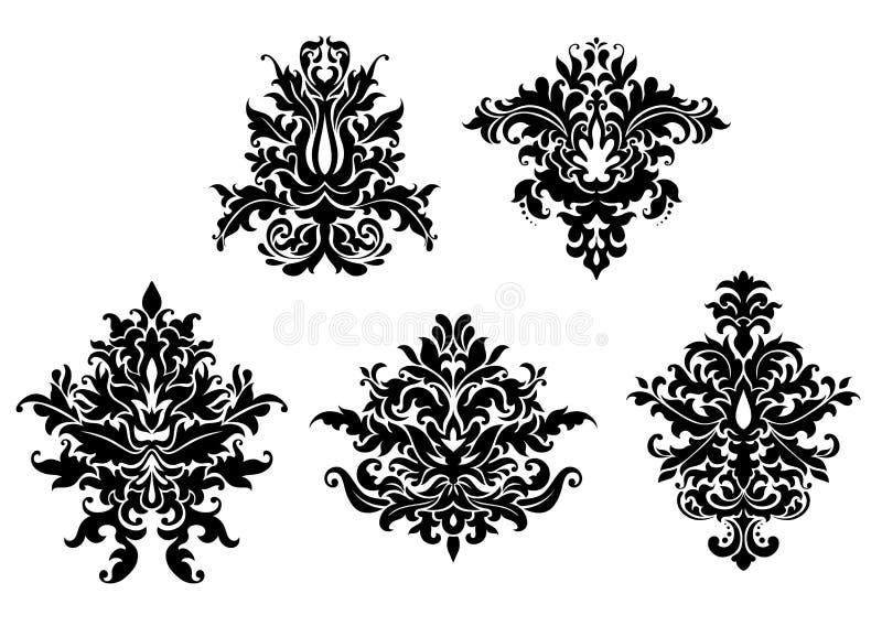 被设置的花卉锦缎样式 库存例证