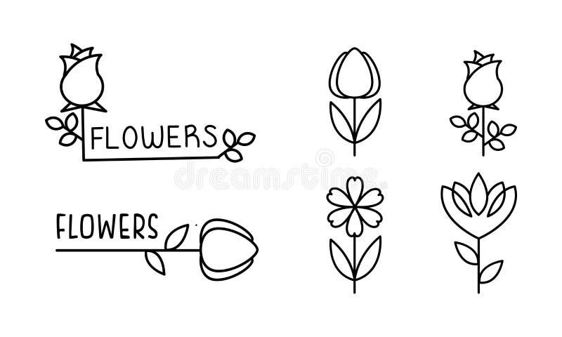 被设置的花线性商标,花卉设计元素可以为品牌身份,花店,卖花人沙龙传染媒介使用 向量例证
