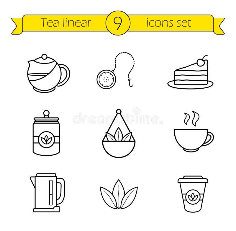 被设置的茶辅助部件线性象 皇族释放例证