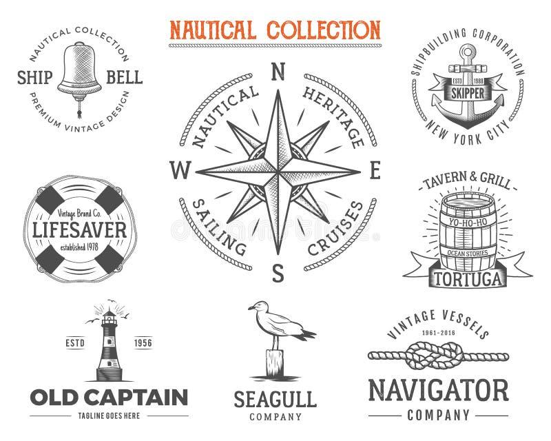 被设置的葡萄酒船舶邮票 老船减速火箭的样式 航行标签,象征例证 图形符号-绳索,风 向量例证
