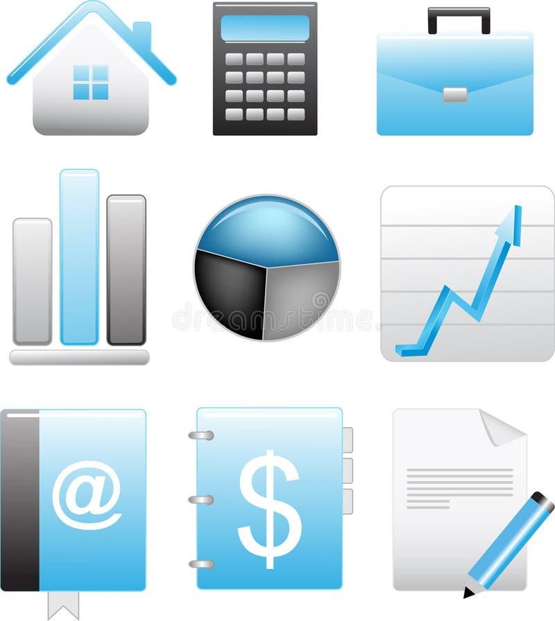 被设置的蓝色企业图标 库存例证