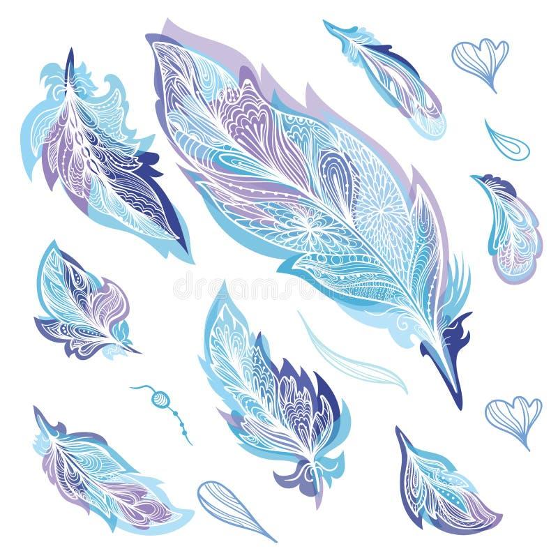 被设置的蓝色Zentangle羽毛 库存例证