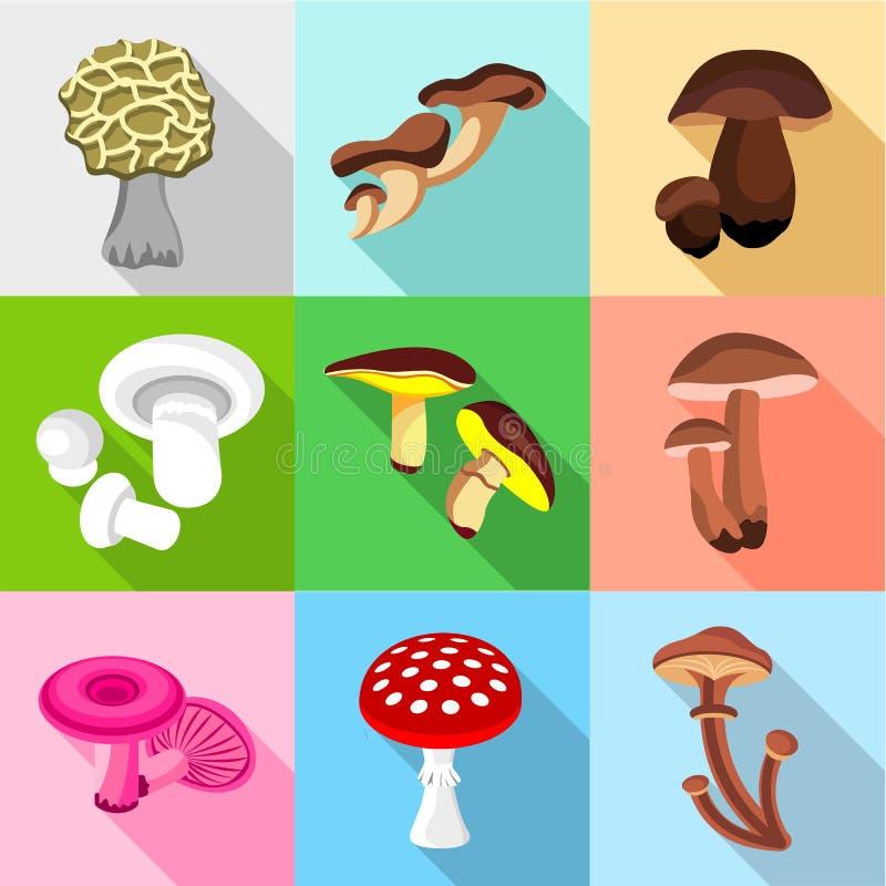 被设置的蘑菇象,平的样式 向量例证