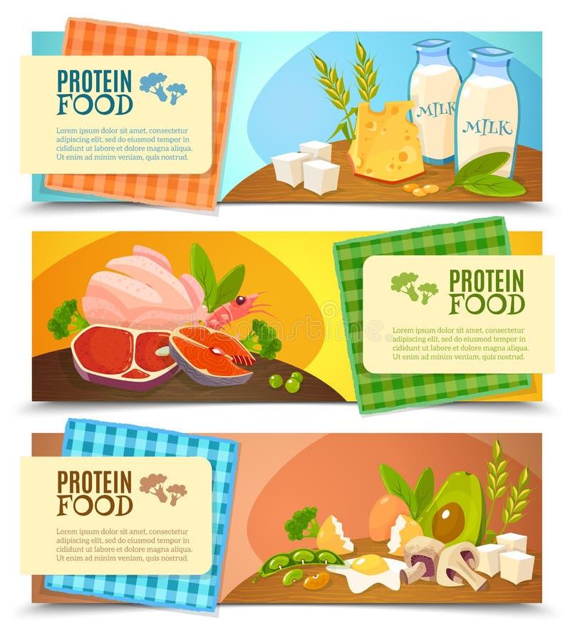 被设置的蛋白质食物平的水平的横幅 皇族释放例证