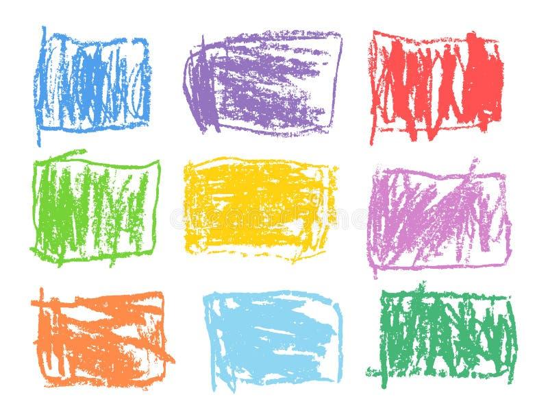 被设置的蜡笔长方形五颜六色的形状 象孩子` s被画的艺术冲程抽象方形的设计元素 库存例证