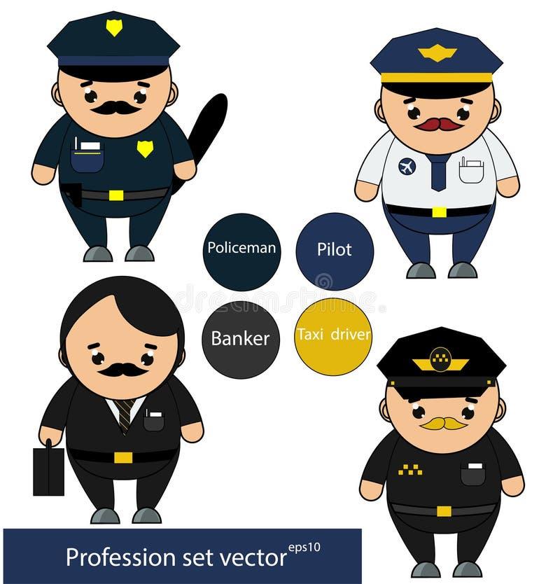被设置的行业 警察,飞行员,银行家,在动画片样式的出租汽车司机字符 也corel凹道例证向量 皇族释放例证
