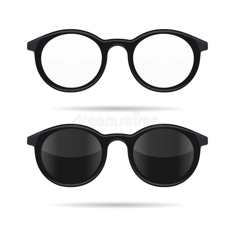被设置的行家玻璃 透明和太阳镜式样象 向量 向量例证
