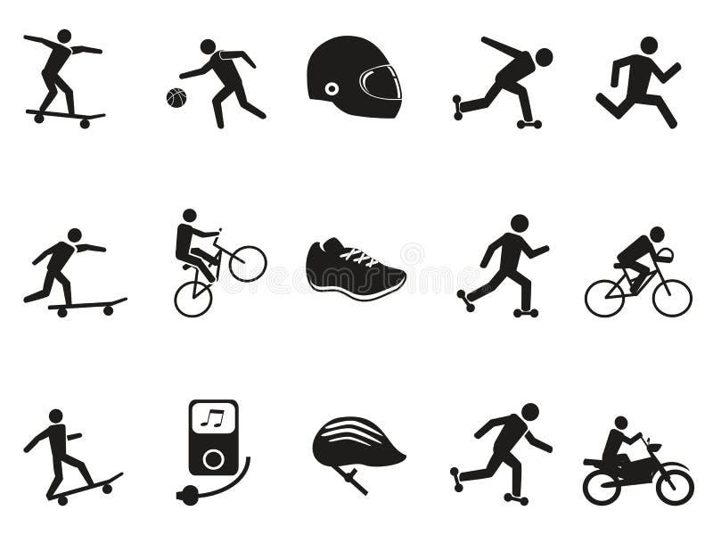 被设置的街道体育骑自行车的滑冰的踩滑板的象 向量例证