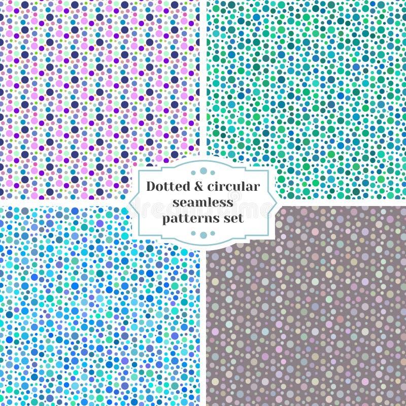 被设置的被加点的和圆无缝的样式 向量例证