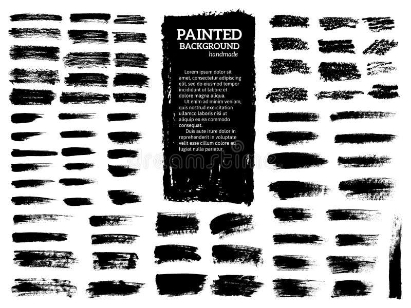 被设置的被绘的难看的东西条纹 黑色标签,背景,油漆纹理 刷子抚摸传染媒介 手工制造设计元素 皇族释放例证