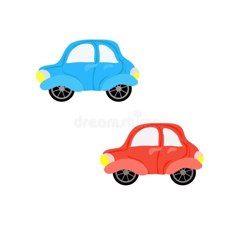 被设置的被隔绝的平的五颜六色的汽车玩具 库存例证