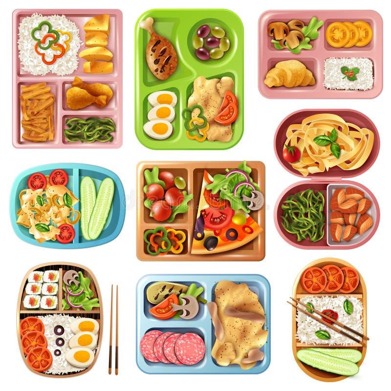 被设置的装箱的午餐 皇族释放例证