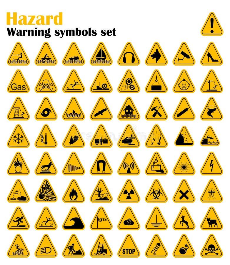 被设置的警告危险三角标志 也corel凹道例证向量 在白色的黄色标志 图库摄影