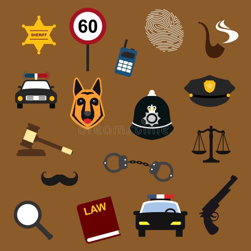 被设置的警察、法律和正义平的象 皇族释放例证