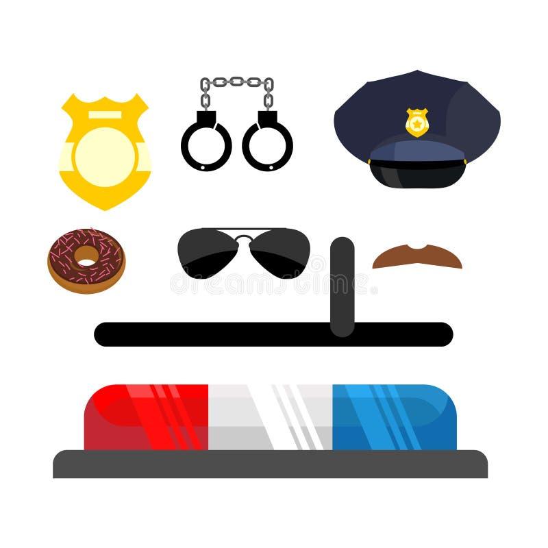 被设置的警察图标 标志警察 在平的猪圈的警察辅助部件 皇族释放例证