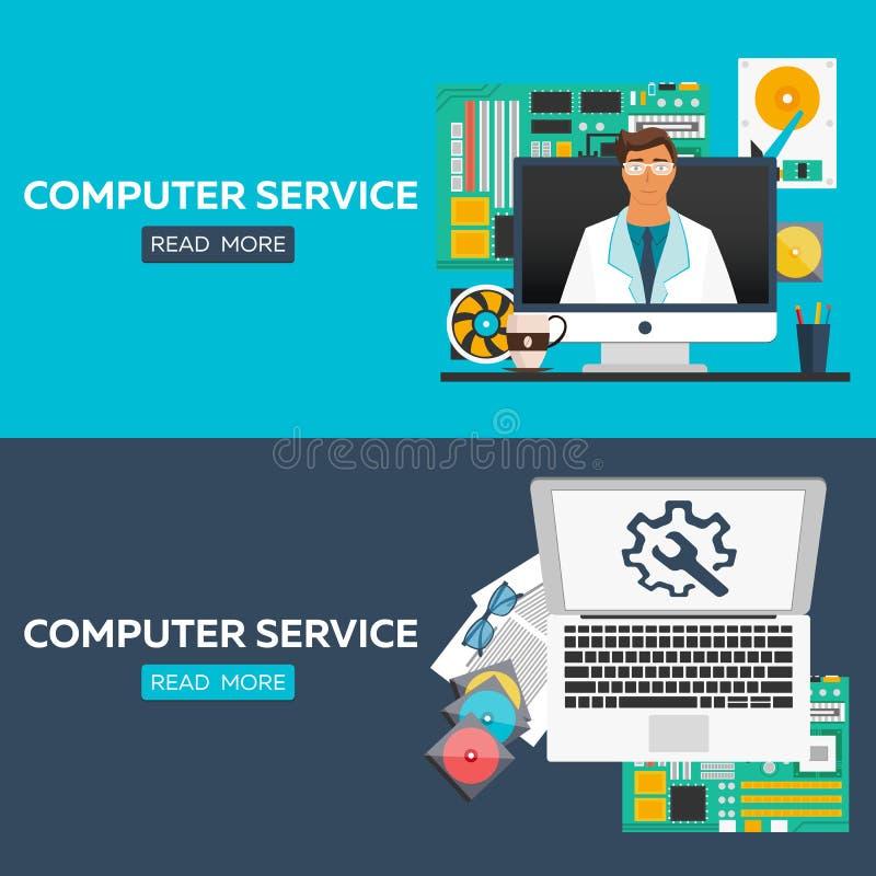 被设置的计算机维护平的例证概念 网横幅的,网站,铅印材料, infographics平的设计观念 皇族释放例证