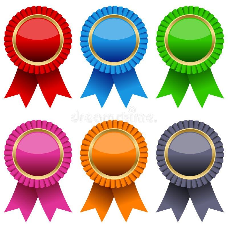 被设置的证书五颜六色的丝带 向量例证