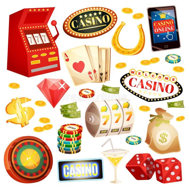 被设置的赌博娱乐场装饰象 向量例证