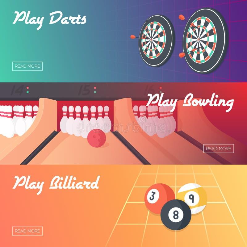被设置的赌博娱乐场水平的横幅(箭、保龄球和台球) 平的样式 清洗设计 向量例证