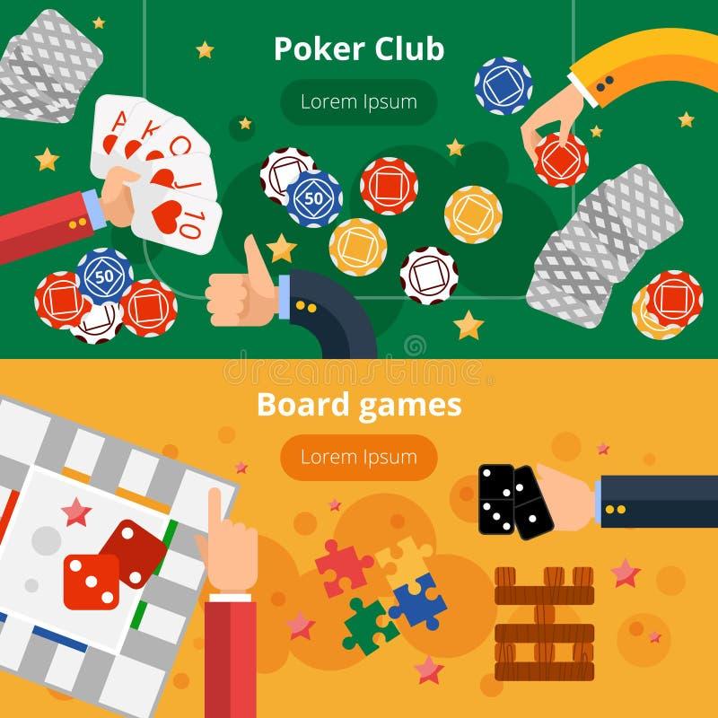 被设置的赌博游戏平的横幅 皇族释放例证