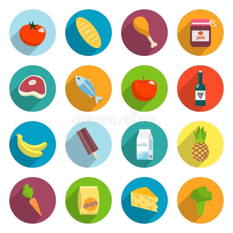 被设置的超级市场食物平的象 向量例证