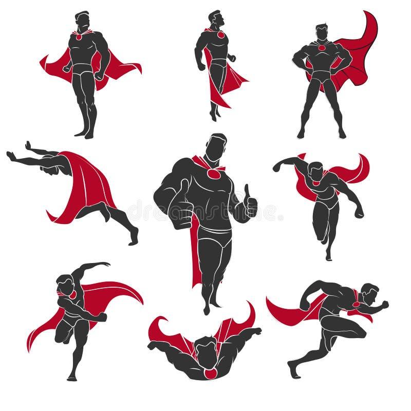 被设置的超级英雄漫画 向量例证