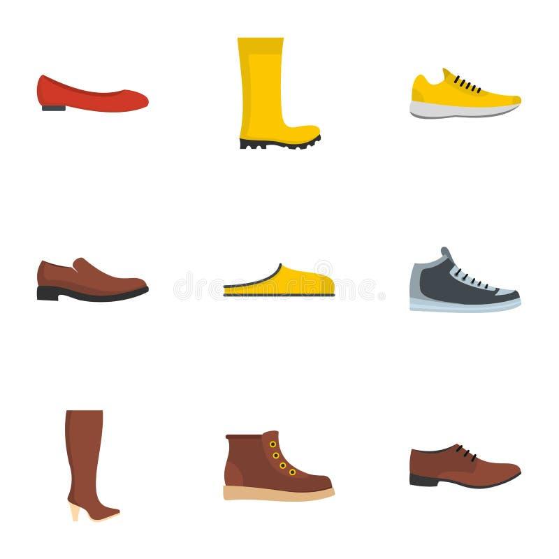 被设置的运动鞋象,平的样式 向量例证